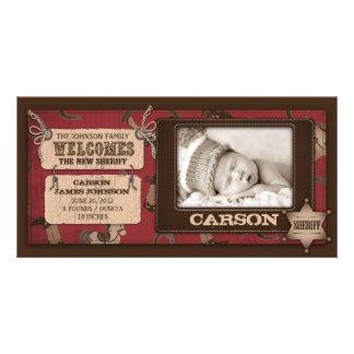 Carte photo 2 de bébé de cowboy photocarte personnalisée