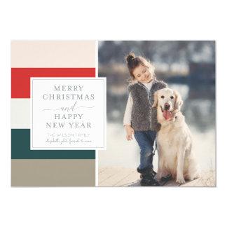 Carte photo amorti de Joyeux Noël de rayures Carton D'invitation 12,7 Cm X 17,78 Cm