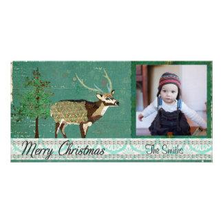 Carte photo azuré de Noël de cerfs communs d'axe Modèle Pour Photocarte