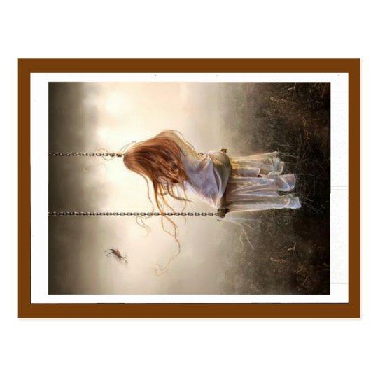 carte photo balançoire bohême jeune fille rousse