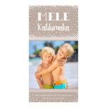 Carte photo/beige de vacances de Mele Kalikimaka Modèle Pour Photocarte