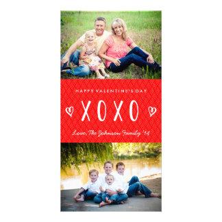 Carte photo blanc rouge de famille de