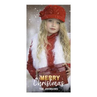 Carte PHOTO blanche de la famille | de JOYEUX Noël de