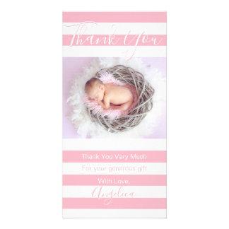 Carte PHOTO blanche rose de la fille | de baby shower de