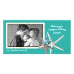 Carte photo bleu de Noël de famille d'étoiles de m Cartes Avec Photo