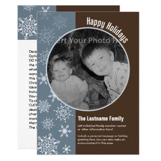 Carte photo bleu de vacances de flocons de neige carton d'invitation  12,7 cm x 17,78 cm