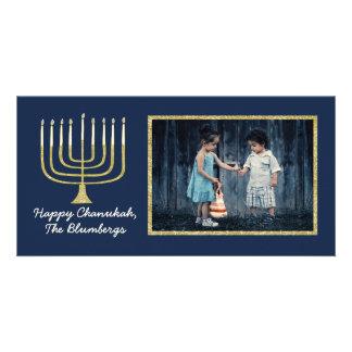 "Carte photo ""bleu élégant de Hanoukka de Menorah """
