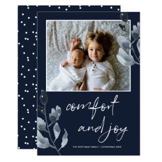 Carte Photo botanique de confort et de joie de Noël