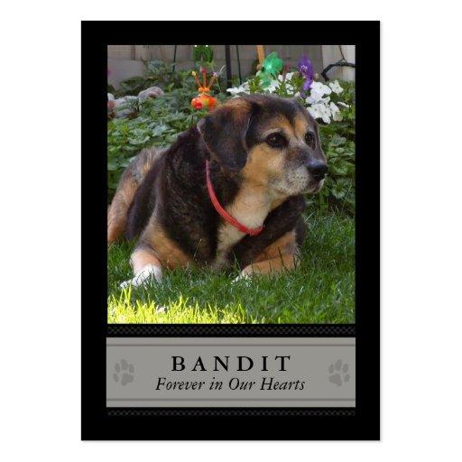 Carte photo commémoratif de chien - noir avec le p cartes de visite professionnelles