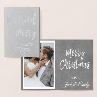 Carte photo d'aluminium argenté de Noël marié et