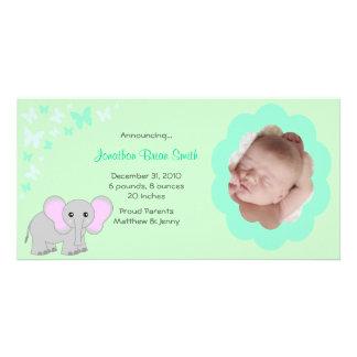 Carte photo d'annonces de naissance de bébé cartes de vœux avec photo