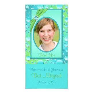 Carte photo de bat mitzvah de point de polka de photocarte