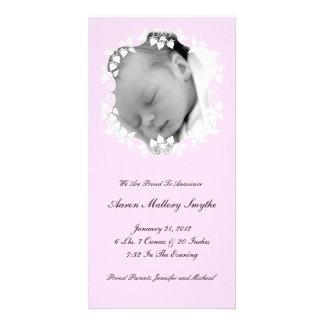 Carte photo de bébé de fille rose de Lite nouveau Modèle Pour Photocarte
