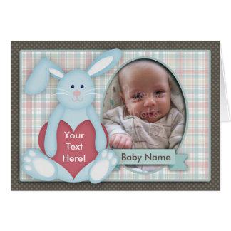 Carte photo de bébé, lapin bleu, plaid, vous