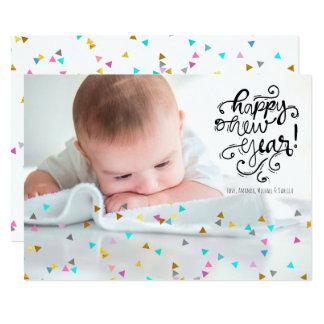 Carte photo de bonne année de confettis