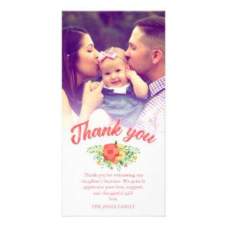 Carte Photo de corail de Merci de baptême de bouquet de