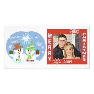 Carte photo de couples de bonhommes de neige de No Modèle Pour Photocarte