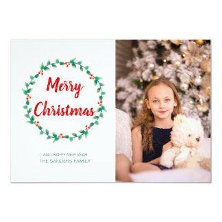 Carte Photo de coutume de Joyeux Noël de houx