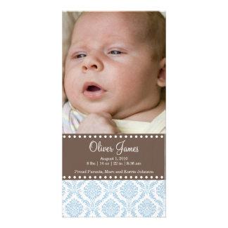 Carte photo de faire-part de bébé de damassé modèle pour photocarte