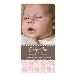 Carte photo de faire-part de bébé de damassé photocartes