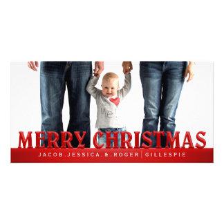 Carte Photo de famille rouge de Joyeux Noël de