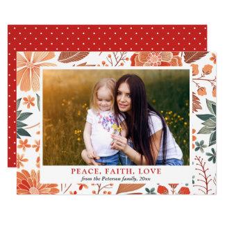 Carte Photo de famille saisonnière de salutation d'amour
