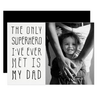 Carte Photo de fête des pères de papa de super héros