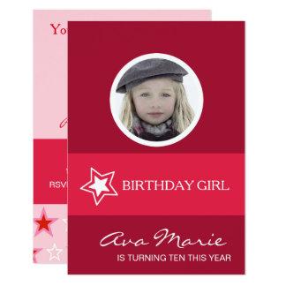 Carte Photo de fille d'anniversaire d'étoile