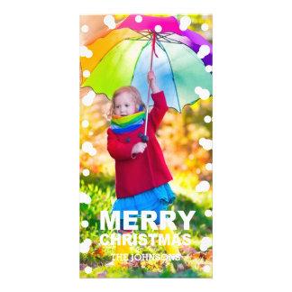 Carte photo de flocons de neige de Noël Modèle Pour Photocarte