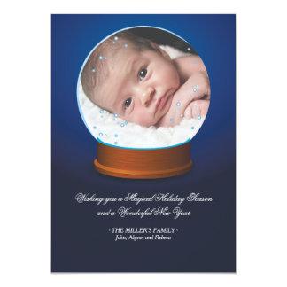 Carte photo de globe de neige carton d'invitation  12,7 cm x 17,78 cm