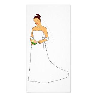 Carte photo de jeune mariée et de bouquet photocarte customisée