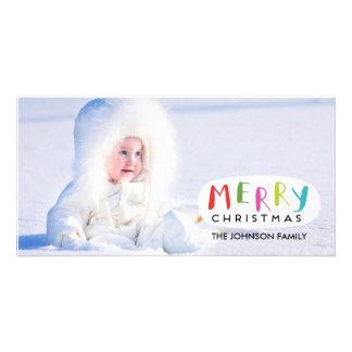 Carte photo de Joyeux Noël - main marquée avec des Photocartes