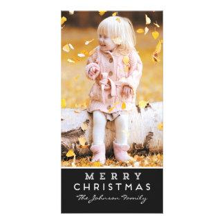 Carte photo de Joyeux Noël - recouvrement noir Carte Avec Photo
