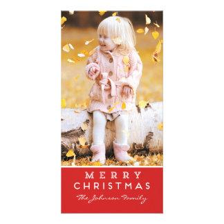 Carte photo de Joyeux Noël - recouvrement rouge Photocartes Personnalisées