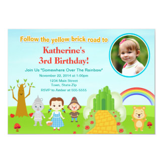 Carte photo de l'invitation 5x7 d'anniversaire de