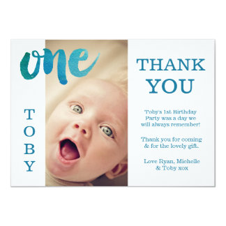 Carte photo de Merci d'anniversaire de bleu de Carton D'invitation 11,43 Cm X 15,87 Cm