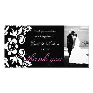 carte photo de Merci de 311-White mariage damassé photocartes