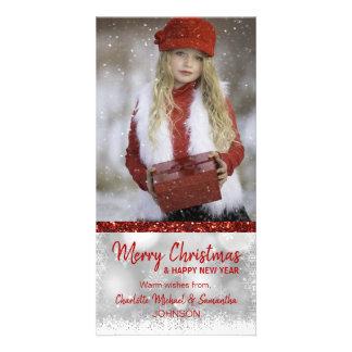 Carte PHOTO de Noël blanc ROUGE de vacances/nouvelle