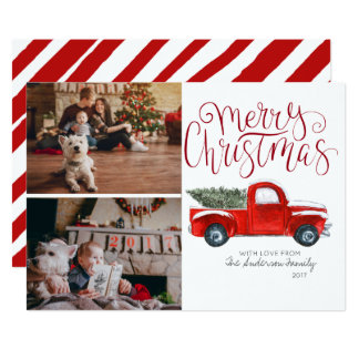 Carte photo de Noël - camion rouge vintage