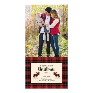 Carte photo de Noël dans le plaid rouge et noir