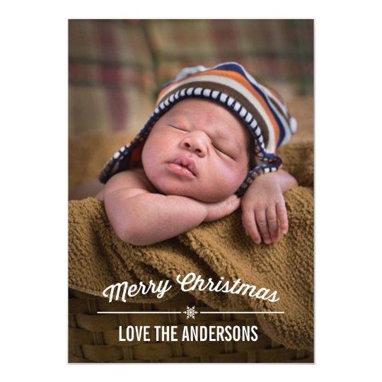 Carte photo de Noël de diviseur de flocon de neige Carton D'invitation 12,7 Cm X 17,78 Cm
