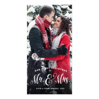 Carte photo de Noël de nouveaux mariés