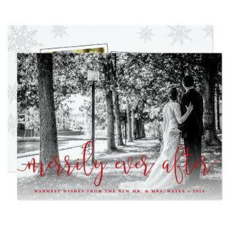 Carte photo de Noël de nouveaux mariés avec Carton D'invitation 12,7 Cm X 17,78 Cm