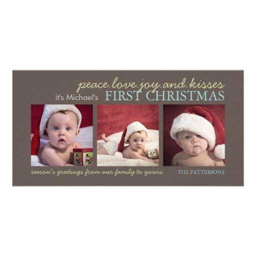 Carte photo de Noël du bébé de joie d'amour de pai Carte Avec Photo