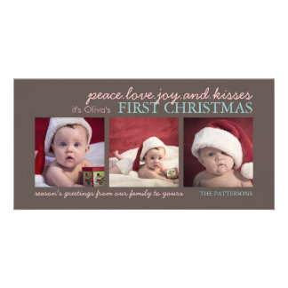 Carte photo de Noël du bébé de joie d'amour de pai Photocarte