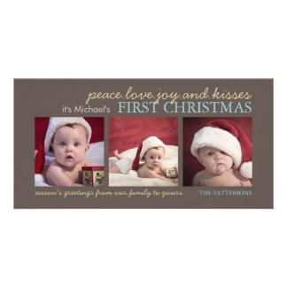 Carte photo de Noël du bébé de joie d'amour de pai Photocartes Personnalisées