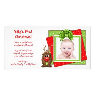 Carte photo de Noël du bébé de renne de Noël premi Photocartes