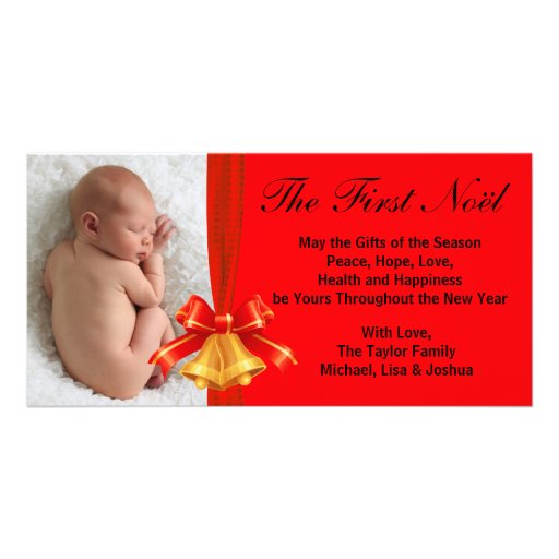 Carte photo de Noël du bébé rouge de Bells d'or pr Cartes De Vœux Avec Photo