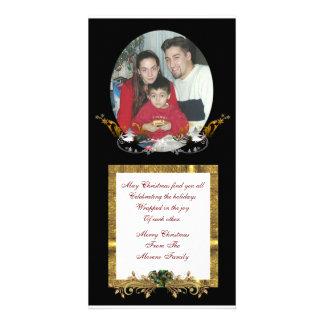 Carte photo de Noël sur le noir Photocarte