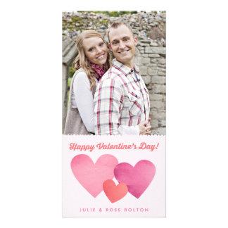 Carte photo de papier de Saint-Valentin de coeurs